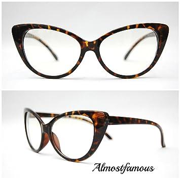a2837a7336 Rockabilly Cateye Tortoise VTG 50s 60s Style Clear Lens Cat Eye Office Retro  Rockabilly Glasses  Amazon.co.uk  Sports   Outdoors