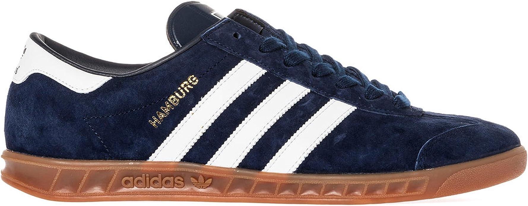 Adidas Hamburg Navy White Mens Trainers Size 11.5 UK: Amazon.co.uk ...
