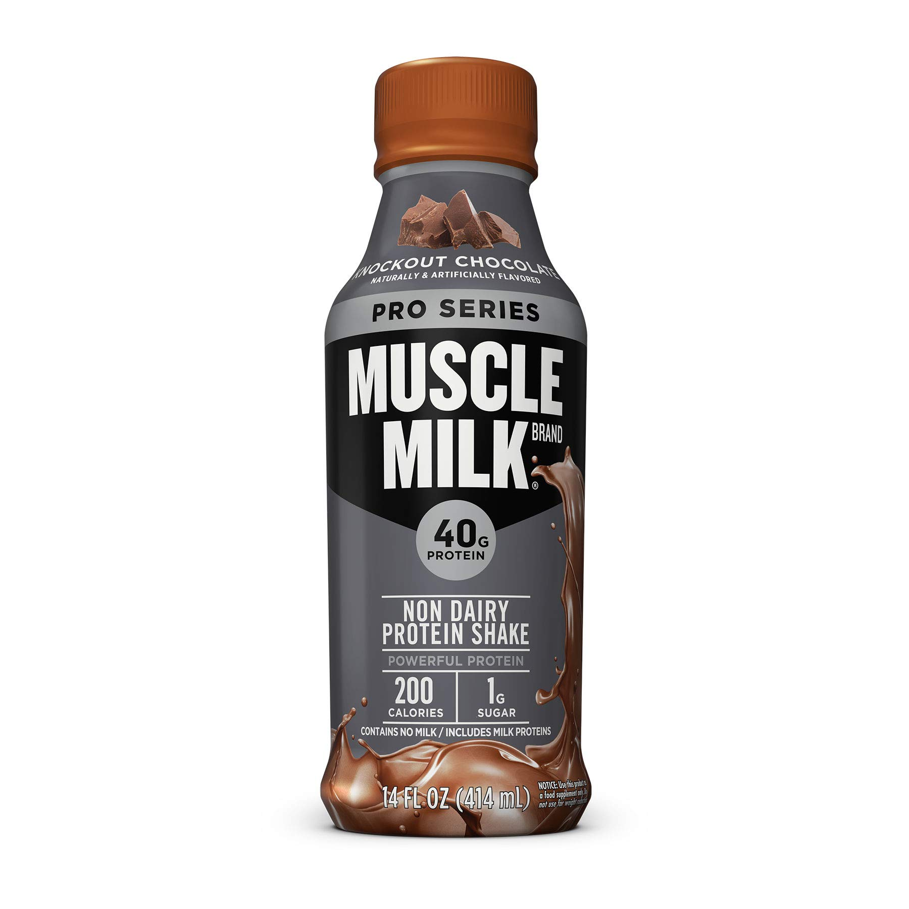 Muscle Milk Pro Series Protein Shake, Knockout Chocolate, 40g Protein, 14 FL OZ, 12 Count by Muscle Milk
