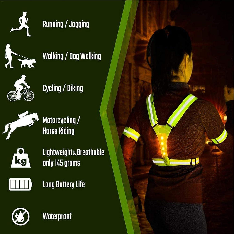Warnwesten Gurt Reflektorweste Einstellbar Fahrrad Warnweste Reflektoren Weste f/ür Z lembrd LED Warnweste mit Reflektor Streifen Joggen Reiten B Sicherheitsweste mit 4 LED Lampen