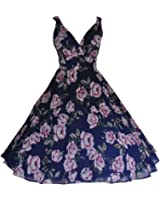 Womens 1950's Vintage Retro Style Navy Floral Chiffon Full Circle Tea Dress