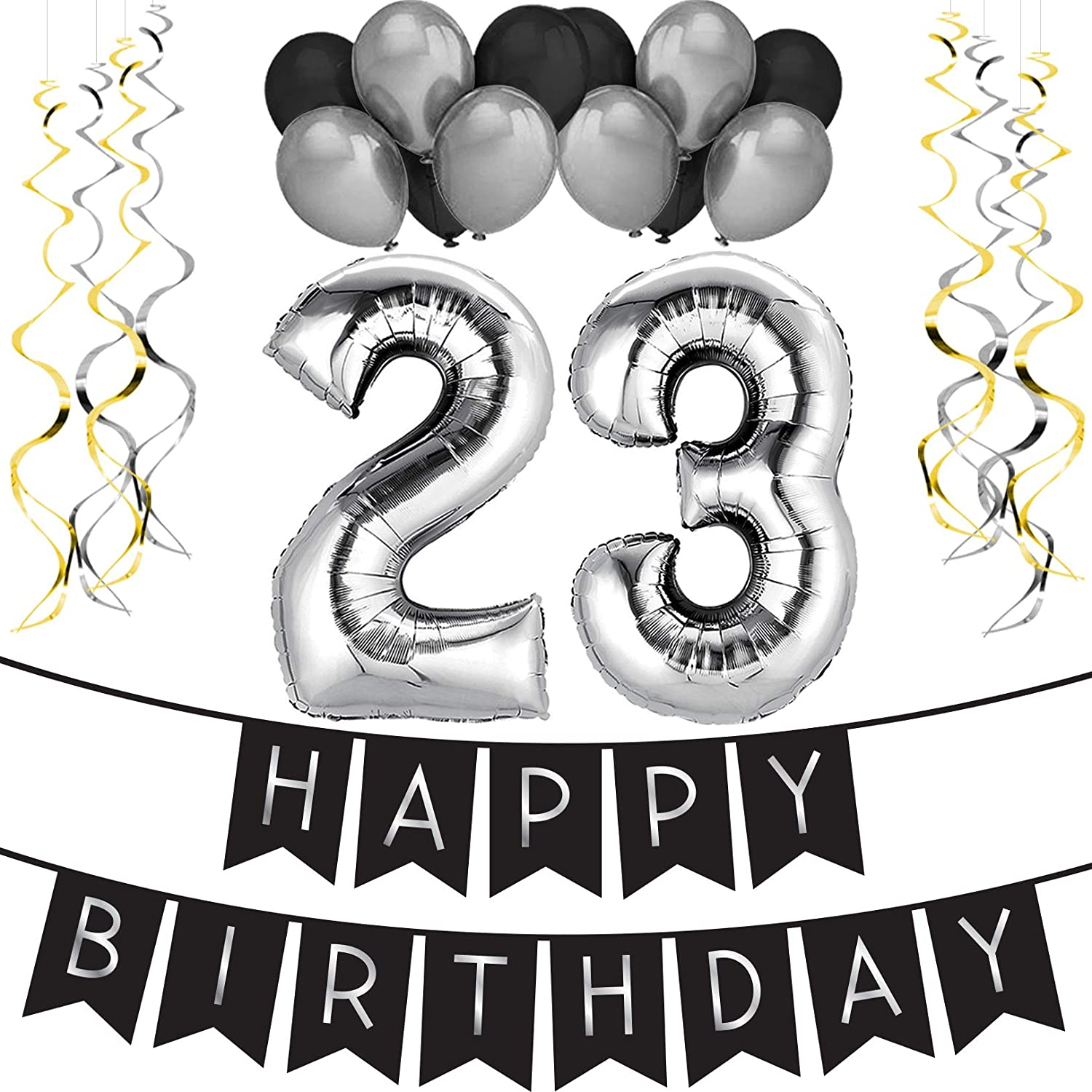 Amazon 23rd Birthday Party Pack Black Silver Happy Bunting Balloon And Swirls Decorations Supplies