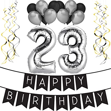Amazon 23rd Birthday Party Pack Black Silver Happy