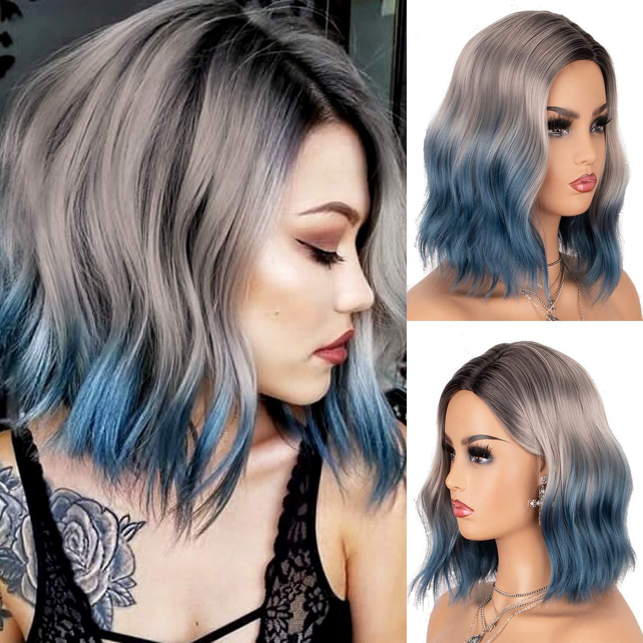 K'ryssma Blue Ombre Wig Bob with Dark Root 3 Tone Short Wavy Synthetic Wigs Glueless Heat Resistant Hair