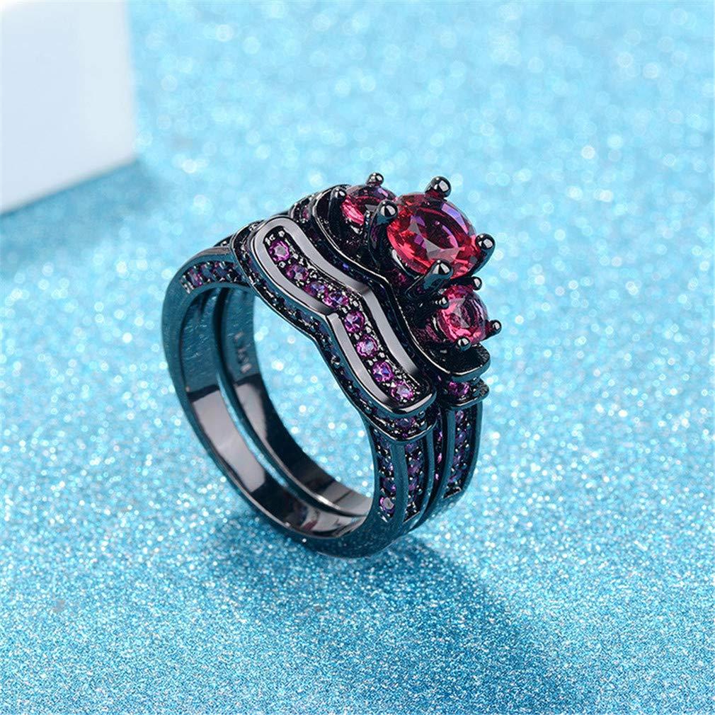 Mrsrui Princess Luxury Tiara Crown Red Teardrop Cocktail Band Ring Punk Rock