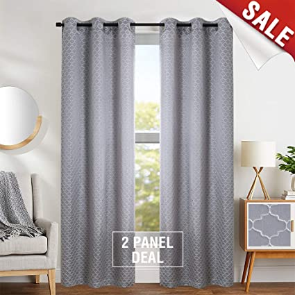 Window Curtains for Bedroom Jacquard Quatrefoile Curtain Set for Living  Room Drapes inch Grey 95 inches Long 2 Panels