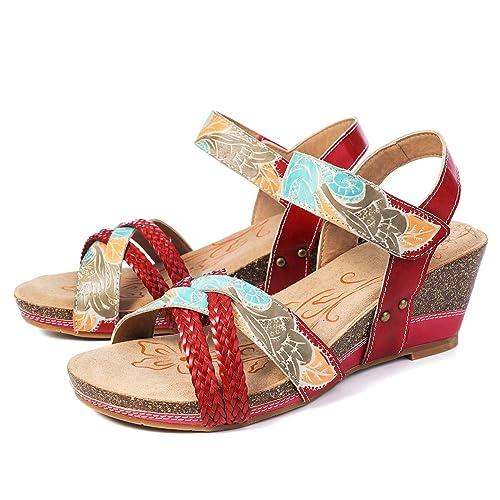 28023462a000e1 Camfosy Damen Vintage Leder Sandalen mit Keilabsatz