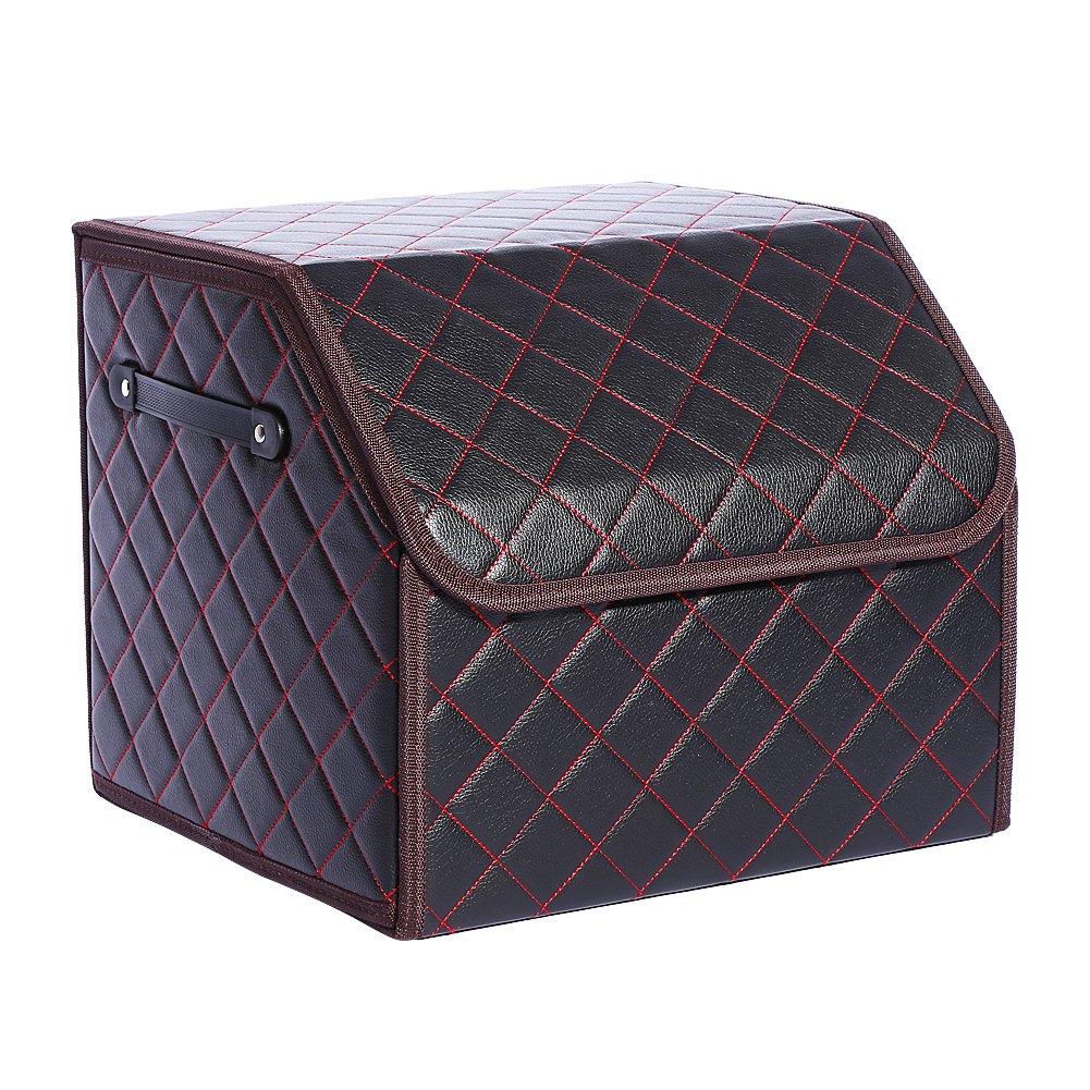 Qiilu High-Grade Microfiber Leather Auto Car Trunk Organizer Folding Storage Box Foldable Bag