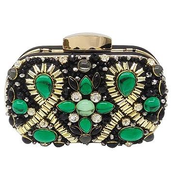 Hemotrade Mujeres ovales embragues Bolso de Noche de Cristal Bolsos de Monedero del Embrague Ocasión Especial Bolsos de Noche (Color : Green): Amazon.es: ...