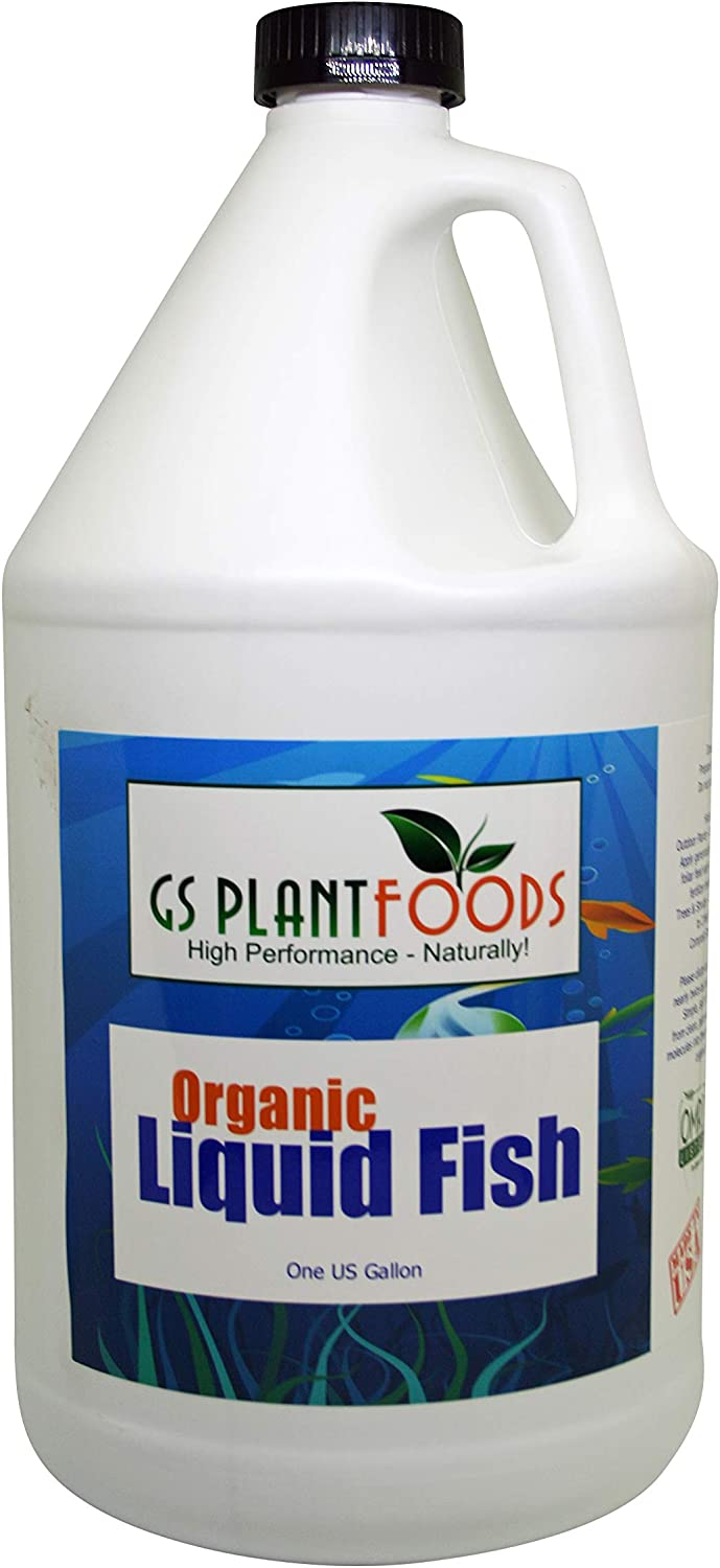 GS Plant Foods Organic Liquid Fish Fertilizer (1 Gallon) | Omri Organic Listed Hydrolyzed Fish Fertilizer with Macro & Micro Nutrients | Fish Plant Food Growth Solution for Lawns, Trees & Shrubs