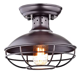 dazhuan industrial vintage metal cage pendant lighting semi flush mount ceiling light lamp fixture orb hanging