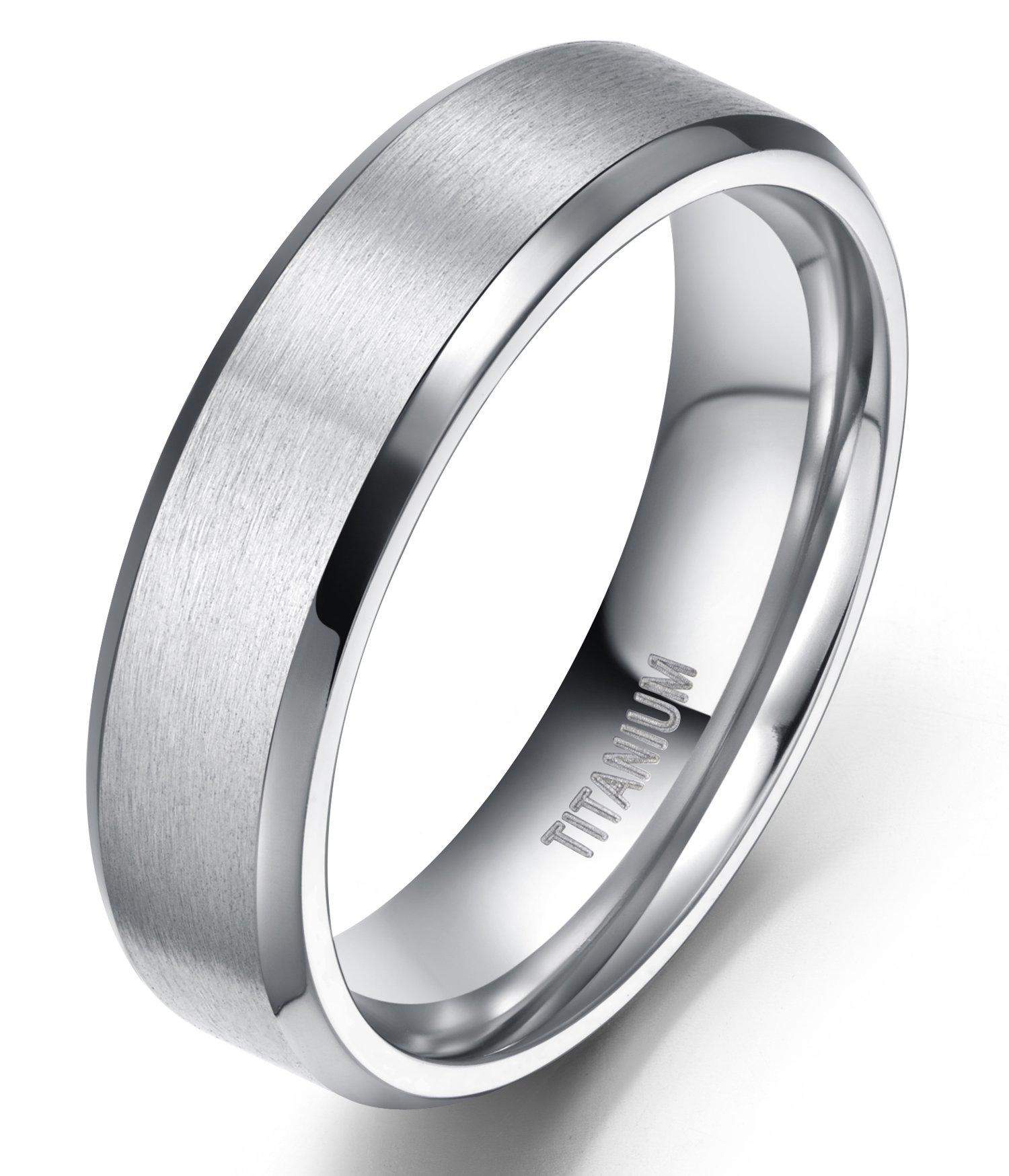 TIGRADE 6mm Unisex Titanium Ring Flat Matte Brushed Beveled Edge Wedding Band Comfort Fit Size 4-13 (titanium, 9)