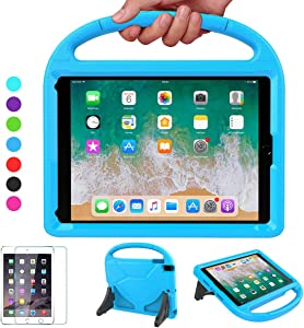 VICVOL Kids Case for iPad 9.7 2018/2017 / Air 1/2 / Pro 9.7, Shockproof Protective Durable Handle Stand Bumper Cover with Screen Protector for 9.7-inch iPad 5th/6th Gen, Blue