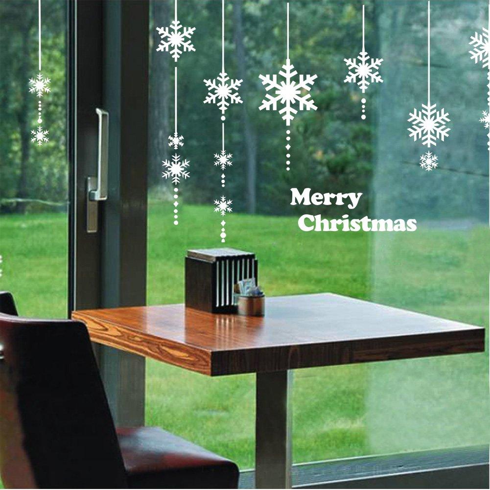 Natale Adesivi Display Rimovibile Fiocco di Neve Natale Addobbi Murali Fai da te Finestra Decorazione Vetrina Adesivi e murali da parete Sticker decorativi (2 fogli X 30 * 90cm) (Bianca) Bukely