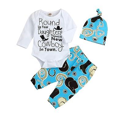 9732c3247d39d 3Pcs Funny Baby Boys Clothes Set Long Sleeve Romper Tops + Cowboy Pants + Hat  Outfits