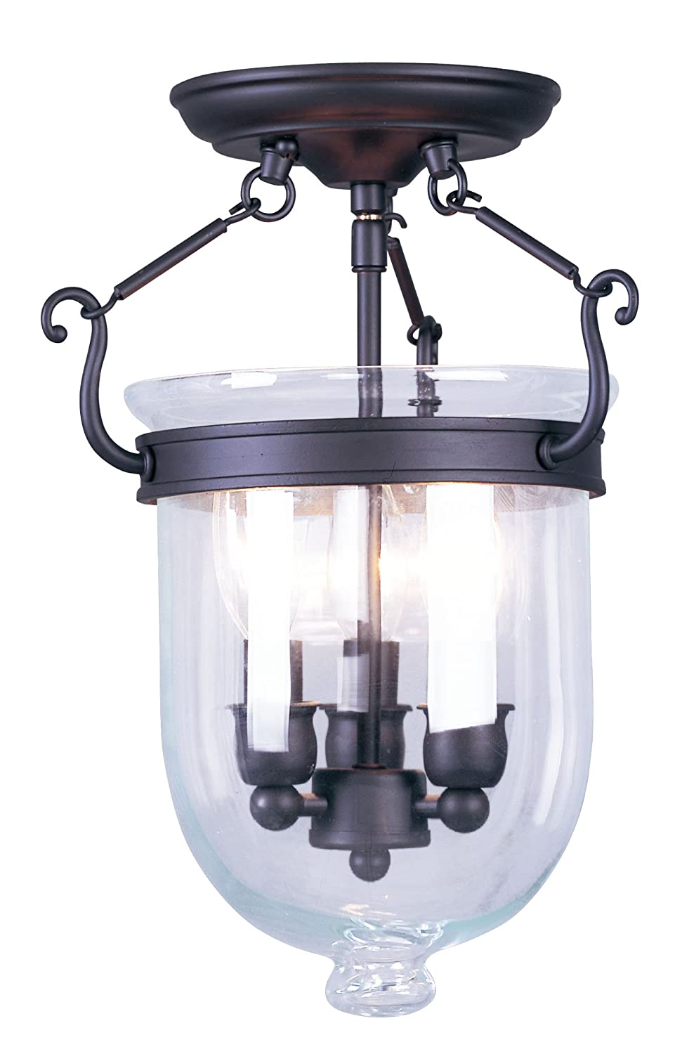 Livex lighting 5061 07 jefferson 3 light bronze bell jar semi flush livex lighting 5061 07 jefferson 3 light bronze bell jar semi flush with clear glass close to ceiling light fixtures amazon arubaitofo Choice Image