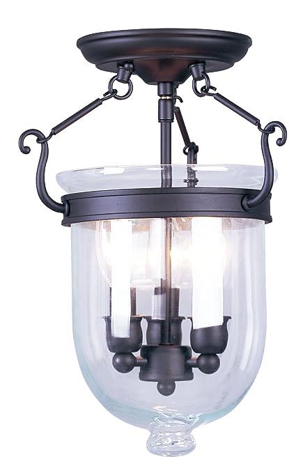 Bell jar lighting fixtures Chandelier Foter Livex Lighting 506107 Jefferson Light Bronze Bell Jar Semi Flush With Clear Glass Amazoncom Livex Lighting 506107 Jefferson Light Bronze Bell Jar Semi Flush