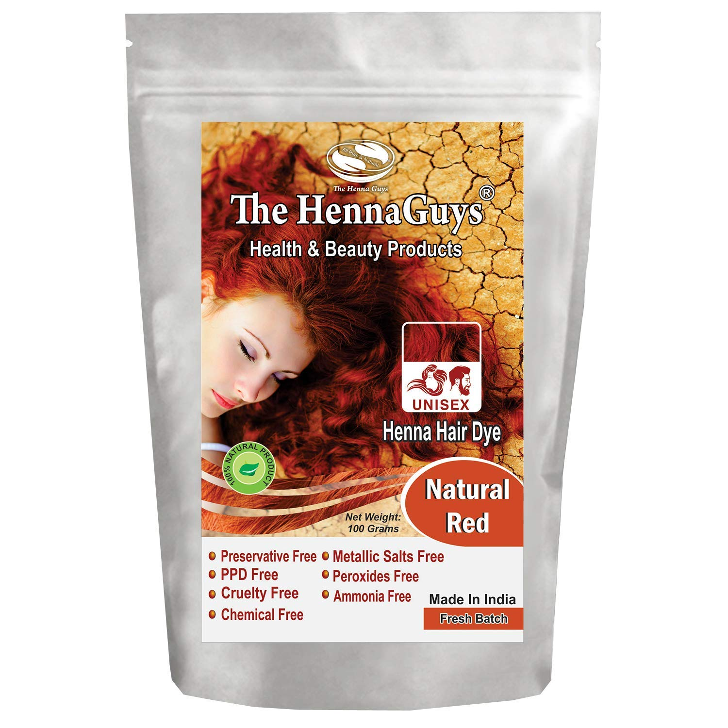 Natural Red Henna Hair Color/Dye 100 Grams - The Henna Guys