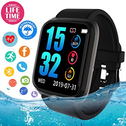 Smart Watch, Waterproof Smartwatch for Android Phones, Sport Fitness Watch with Heart Rate Monitor, Activity Fitness Tracker Watch with Pedometer ...