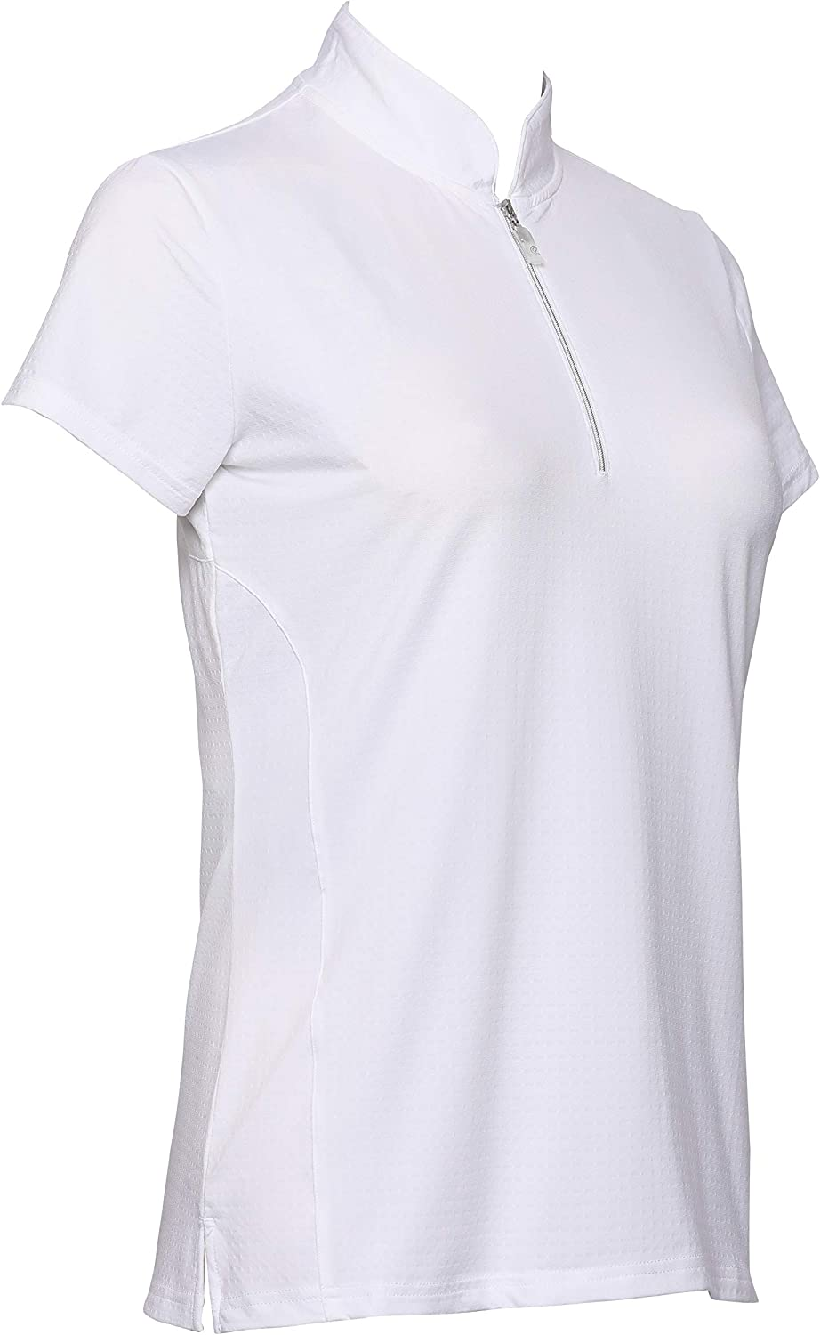 Bette & Court Women's Short Sleeve Solid Polo With Petal Collar White