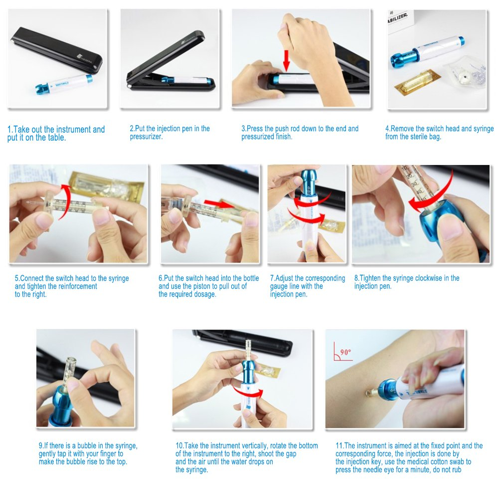 Professional Noninvasive Nebulizer Hyaluronic Acid Syringe, Needle Free Pen Hyaluronic Acid Micro Injector Skin Care Rejuvenation Whitening Moisture Beauty Salon by Salmue (Image #7)