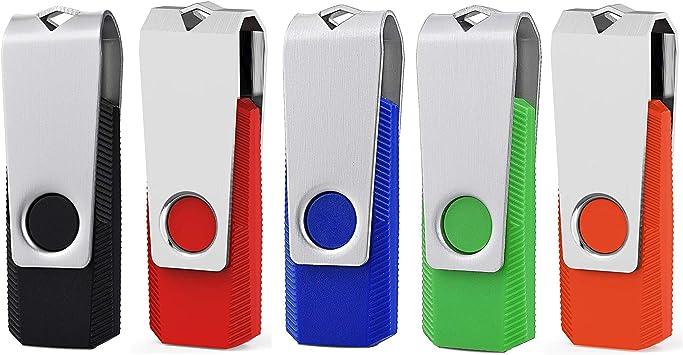 KEXIN 2GB Memoria USB 2.0 Pendrive 2GB Flash Drive Memory Stick para Computadoras, Tabletas y Otros Dispositivos [5 Unidades] Color de Azul Negro Verde Rojo Naranja …: Amazon.es: Informática