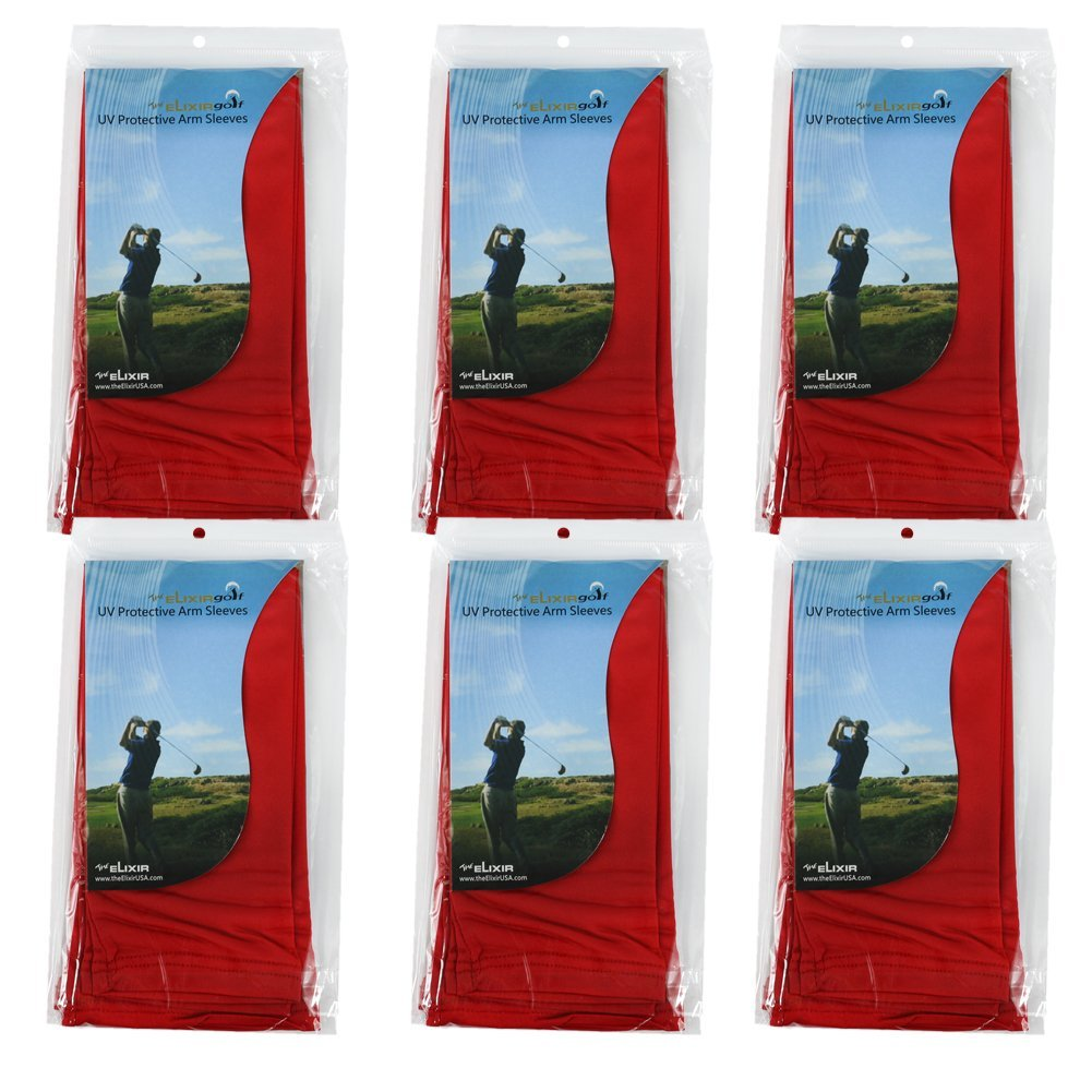Elixir Arm Sleeves 6 Pairs Bundle Pack for Cycling, Golf, Tennis, Hiking and Outdoor Activities, 6 Pairs Red by The Elixir Golf (Image #5)