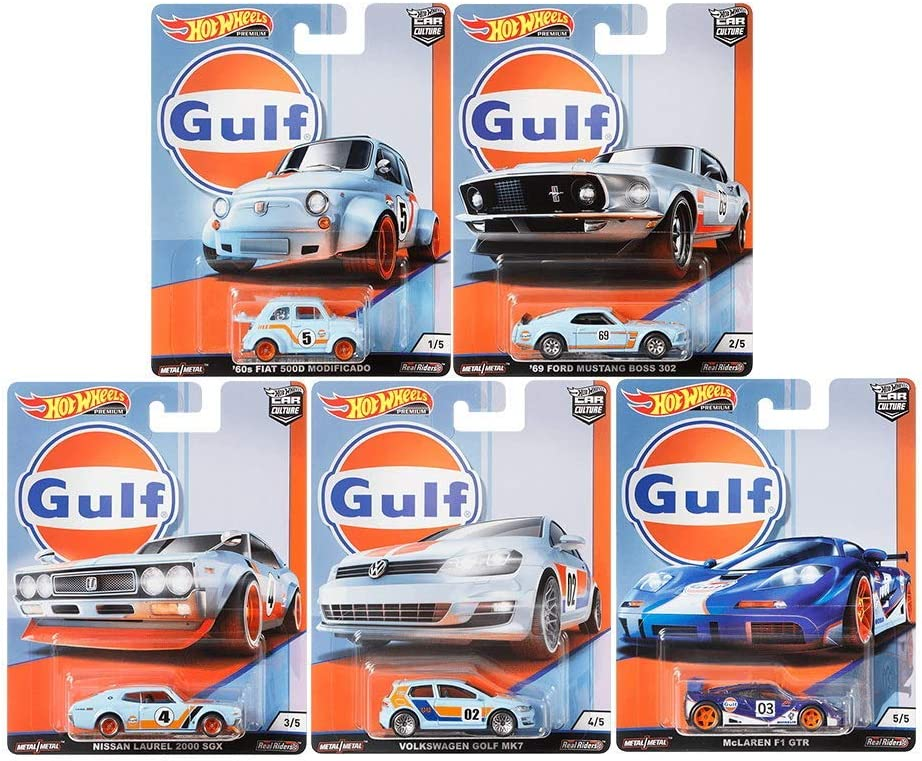 Hot Wheels 2019 Car Culture Gulf Racing Series Set of 5, 1/64 Scale Diecast Cars