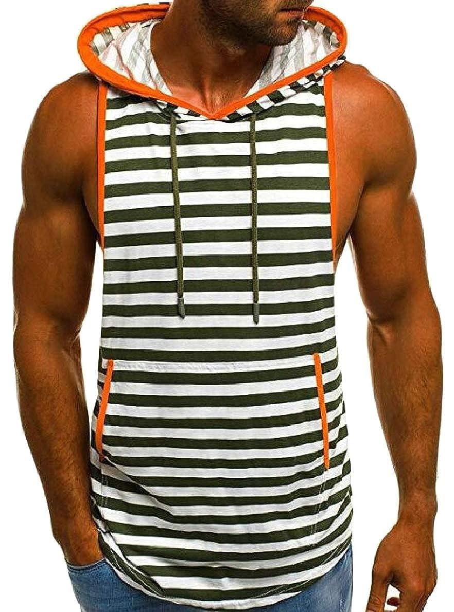 shinianlaile Mens Tank Tops Summer Stripe Printed Slim Sleevesless Vest