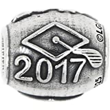 Sterling Silver Oxidized Year 2017 Graduation Bead Charm
