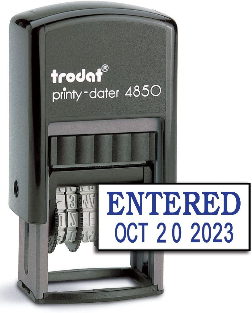 Blue Ink Trodat 4850 Date Stamp withEntered Self Inking Stamp