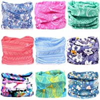 KALILY 12PCS/9PCS/6PCS Headband Bandana - Versatile Sports & Casual Headwear –Multifunctional Seamless Neck Gaiter, Headwrap, Balaclava, Helmet Liner, Face Mask for Camping, Running, Cycling, Fishing etc (Flower Pack B)