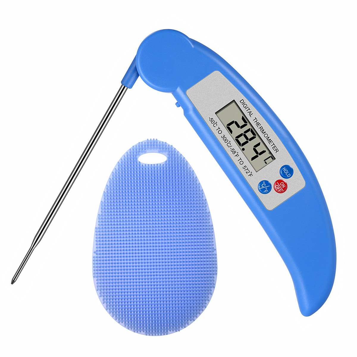 AROUSE Meat Thermometer Digital Instant Read Cooking Thermometer Electronic Food Thermometer With Probe and Kitchen Silicone Sponge Brush for Grill Food, Grilling BBQ, Milk, Tea, Coffee,Blue