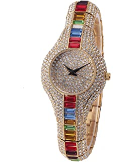 Sheli Womens Fashionable Silver Tone Iced Out Slim Bangle Watch for Wedding Gift, ...