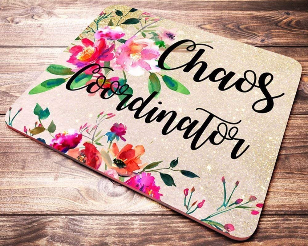 Funny Chaos Coordinator Mouse Pad Pink Red Floral Watercolor Teacher Mousepad Office Desk Accessories Decor