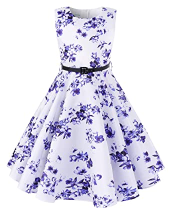 16c7f5c1d Amazon.com  Kidsform Girls Sleeveless Dress Floral Print Casual A ...