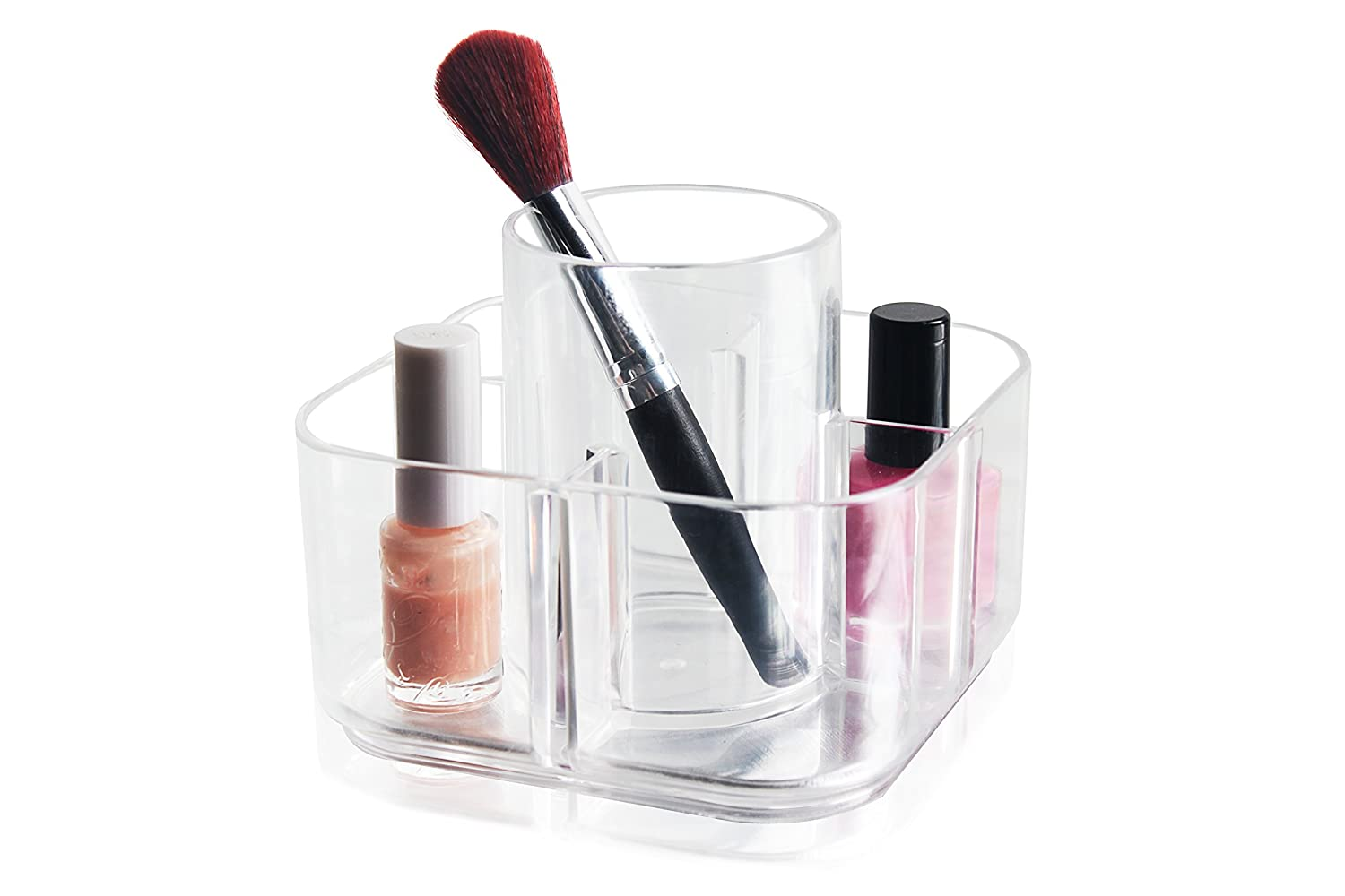Premium Clear Acrylic Makeup Brush Desktop Storage Organizer, 5 Compartments Acrylic Cosmetic Organizer,1pc Pack