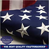 American Flag 3x5 ft - Embroidered Stars Sewn Stripes Brass Grommets U.S. Flags - Long Lasting Oxford Built for Outdoor Use
