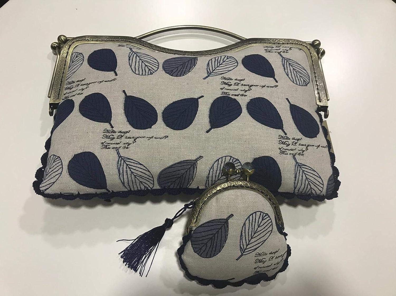 Bolso y monedero hecho a mano tela hojas azules: Amazon.es ...