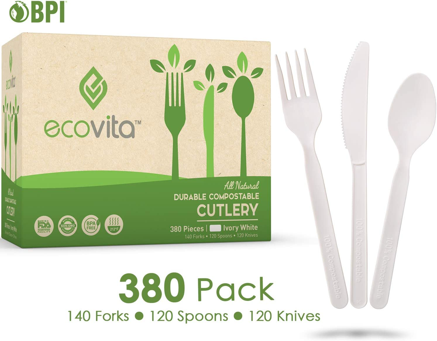 100% Compostable Forks Spoons Knives Cutlery Combo Set - 380 Large Disposable Utensils (7 in.) Eco Friendly Durable and Heat Resistant Plastic Silverware Alternative with Convenient Tray by Ecovita