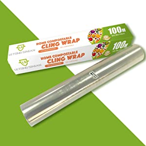 Food Cling Wrap - Home compostable Large Capacity Food Wrap BiodegradableSeal Wrap Freezer Wrap 328 sq. Ft