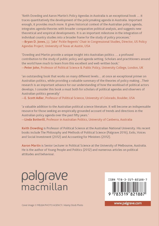 Policy Agendas in Australia: Amazon.es: Keith Dowding, Aaron ...