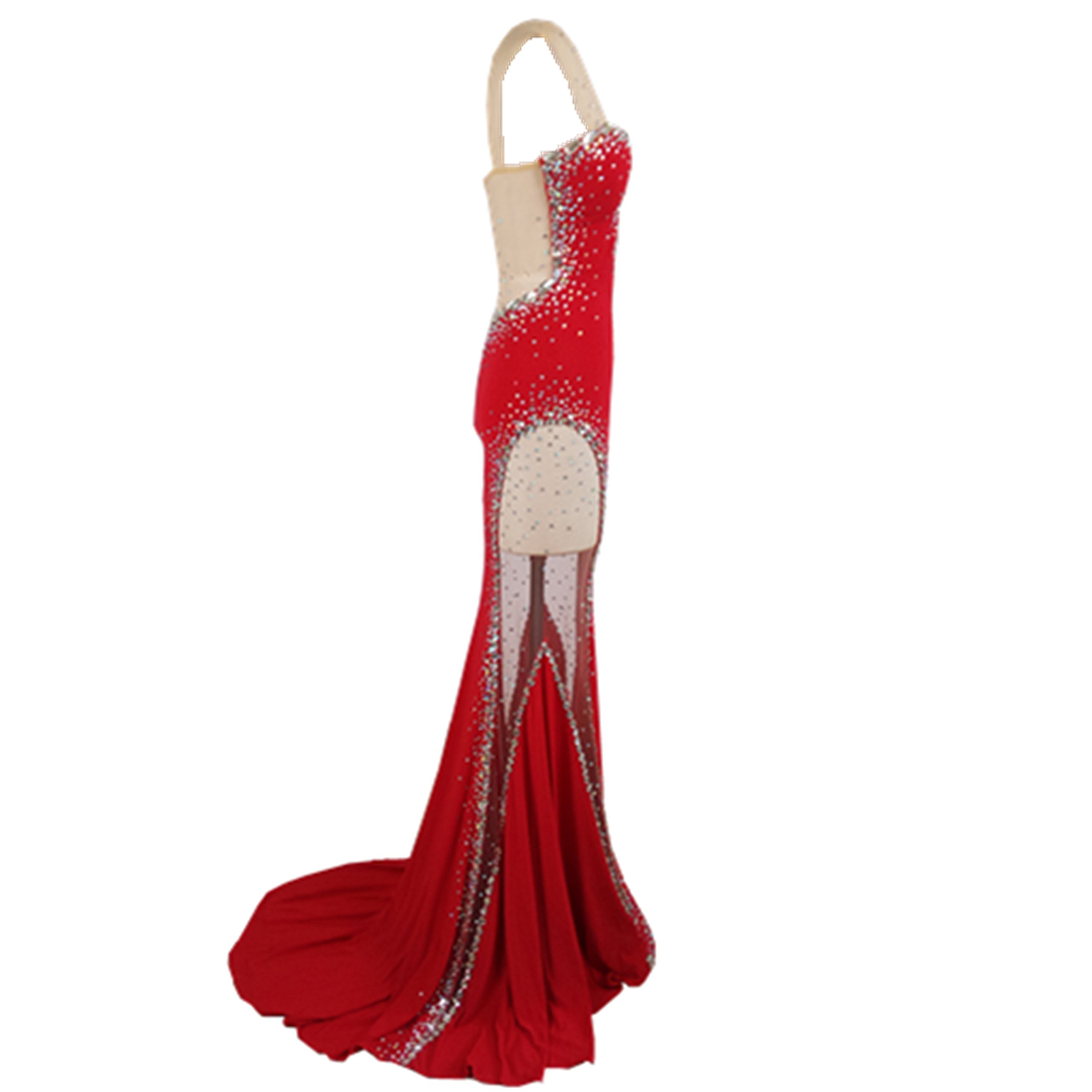 Gypsophila Women's Long Fitted Beading Sleeveless Mermaid Evening Gown Dress (0, Red)