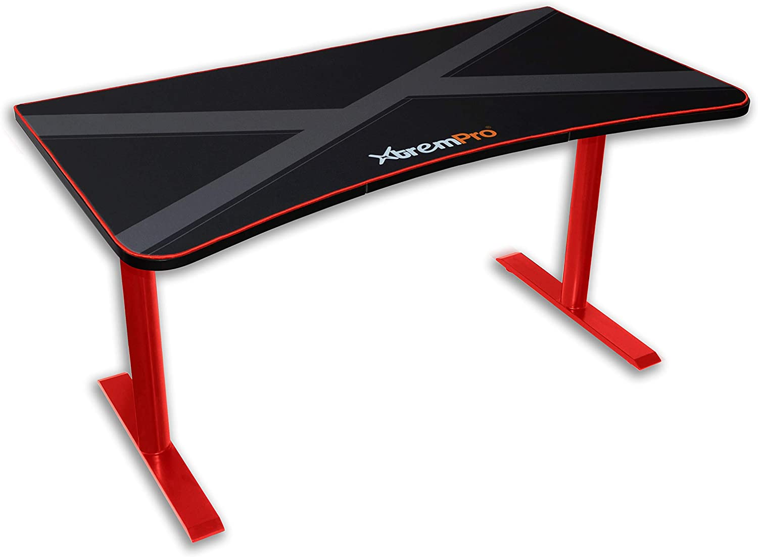 XtremPro 11161 Gaming Desk Huge Three Monitor Display Area Table Cable Management Full Mouse Pad Cover Black Red