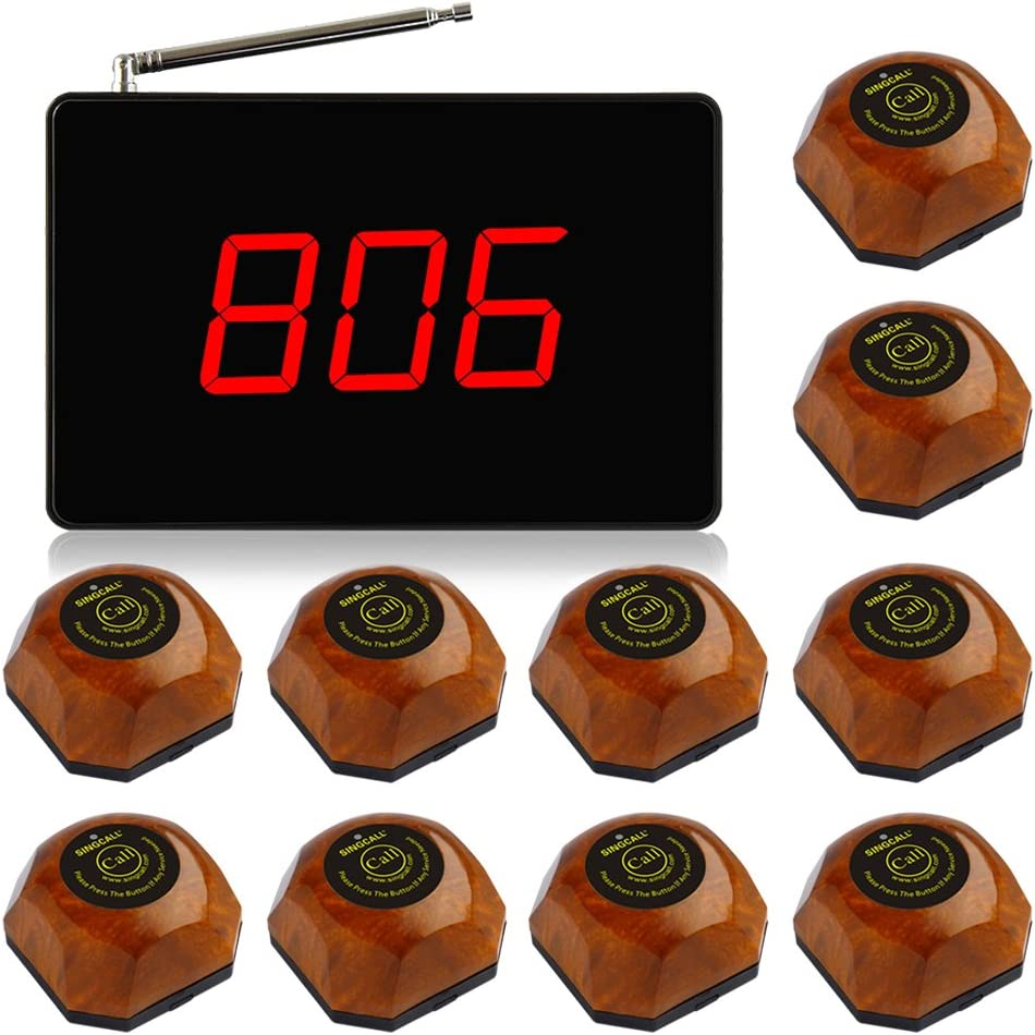SINGCALL Wireless Calling System Service System, Call Waiter Nurse,for Cafe Coffee Shop Restaurant Office, Small Display Big Screen,1 Display 10 Bells