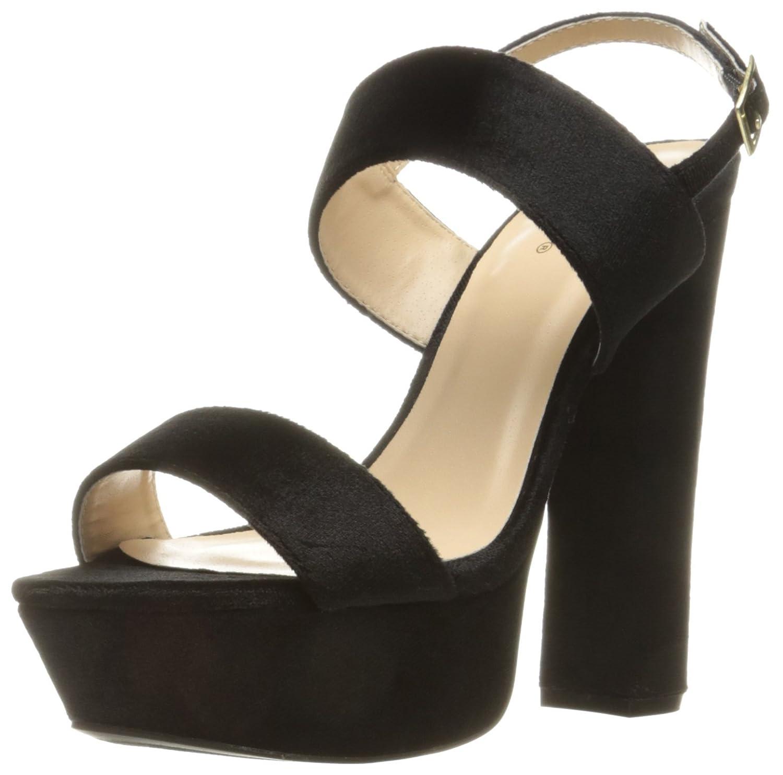 Qupid Women's Beat-44 Platform Sandal B01MA6IC78 7.5 B(M) US Black Velvet