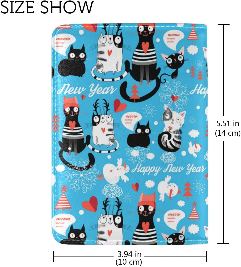 Black Cat Christmas Dress Leather Passport Wallet for Passport Holder for Safe Trip durable Easy to Carry