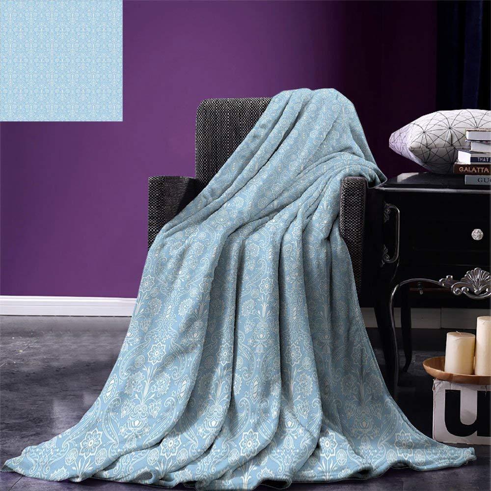 color05 50 x30  SINOVAL Light bluee Warm Microfiber All Season Blanket Old Fashioned Classic Chevron Zigzags Baby Kids Room Nursey Themed Tile Print Artwork Image£¬Multicolor, Light bluee White