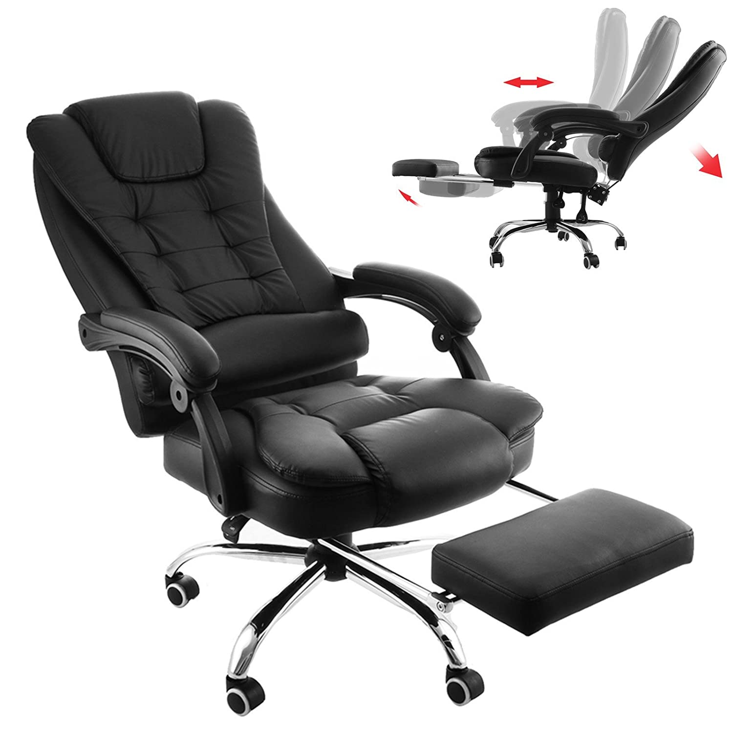 detailed look a1b53 8c23d Mophorn Executive Office Chair with Footrest PU Leather High-Back Reclining  Office Chair Adjustable Reclining Computer Chair Napping Armchair ...