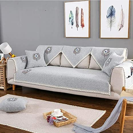 HUANZI SOFA 1 Pieza Funda para Sofá 1 piezahaise Longue L Tapetes de sofá Brazo dere1 piezaho, Gris Funda para sofá Bordada de Lino, Gray, 70 * 701 ...